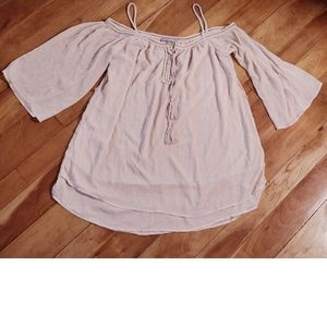 Anthropologie Cream Chiffon Loose Fit Flowy Blouse